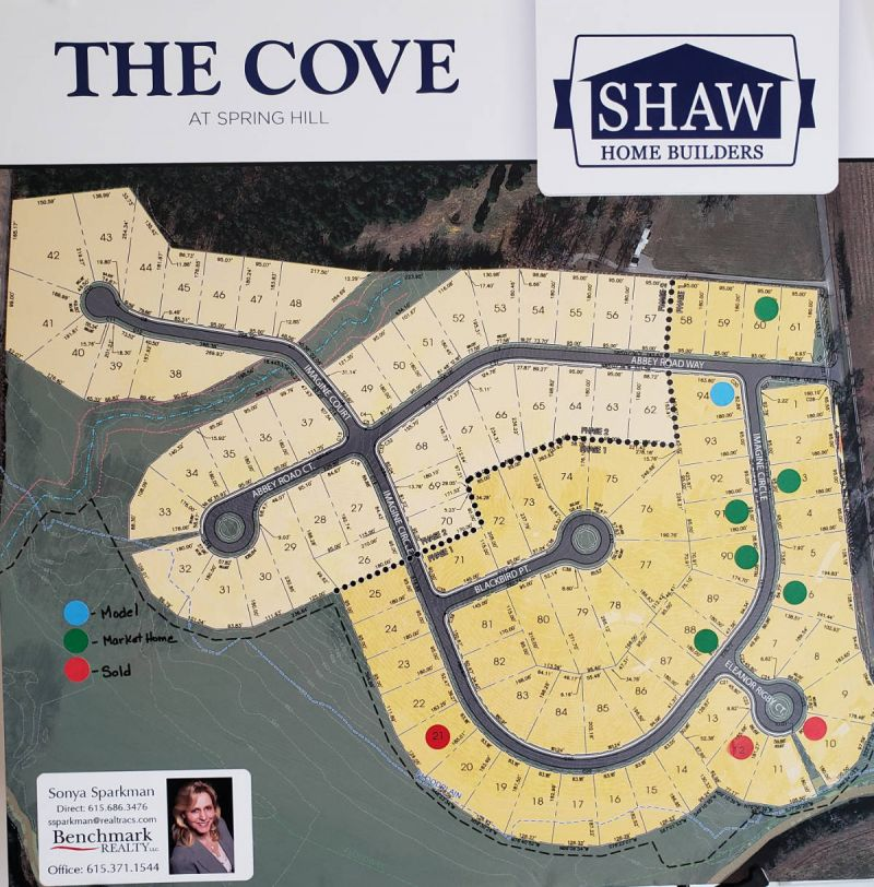 The Cove Lot Map